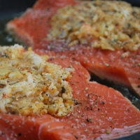 Copycat Costco Seafood-Stuffed Salmon